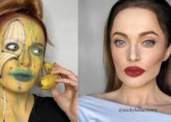 Девушка с помощью макияжа превращает себя в любую знаменитость или оптическую иллюзию